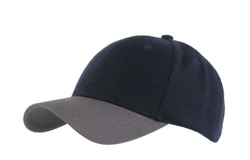 C6723 – 100% Melton Wool Crown with Cotton Peak 6 panel cap with buckle adjuster.