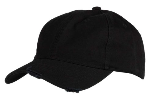 C6728 – 100% Washed Chino 6 Panel Unstructured cap with distressed detail and Velcro adjuster