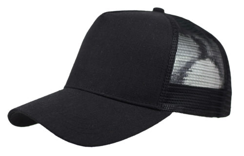 C6735 – Linen Fronted 5 Panel Structured Trucker Cap with Plastic Snap Adjuster