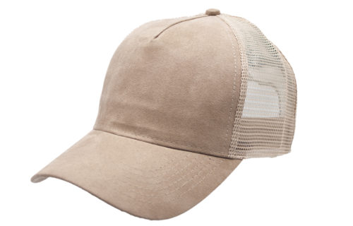 C6740 – 5 Panel Faux Suede Trucker Cap with plastic snap adjuster