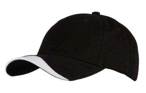 C6772 – 100% Cotton 6 Panel cap with contrasting trim to the peak with a buckle adjuster