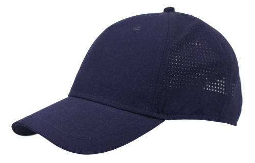 C6737 – 100% Polyester 5 Panel cap with laser cut detail to the sides/rear with Velcro adjuster