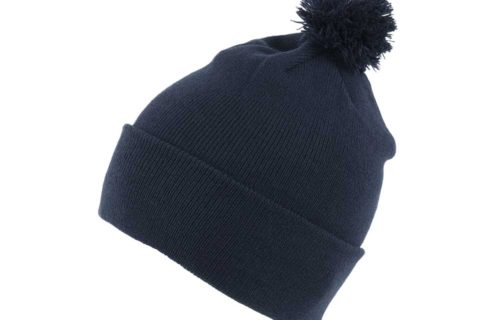 S0008 – 100% Acrylic Knit Beanie with turn-up and Bobble