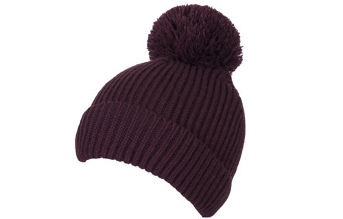 S0012 – 100% Acrylic loose knit beanie with turn-up and oversized bobble