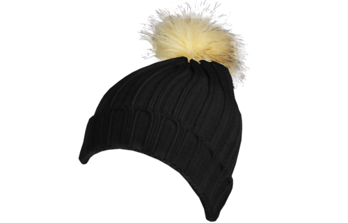 S0014 – 100% Acrylic deep ribbed knit beanie with turn-up and faux fur bobble