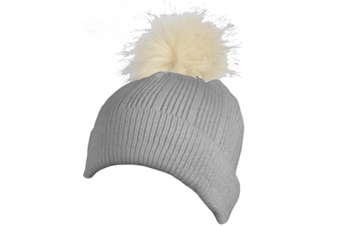 S0015 – 100% Acrylic flat ribbed knit beanie with turn-up and faux fur bobble